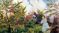 Яблоневый сад (Б.М. Кустодиев, 1918 г.)